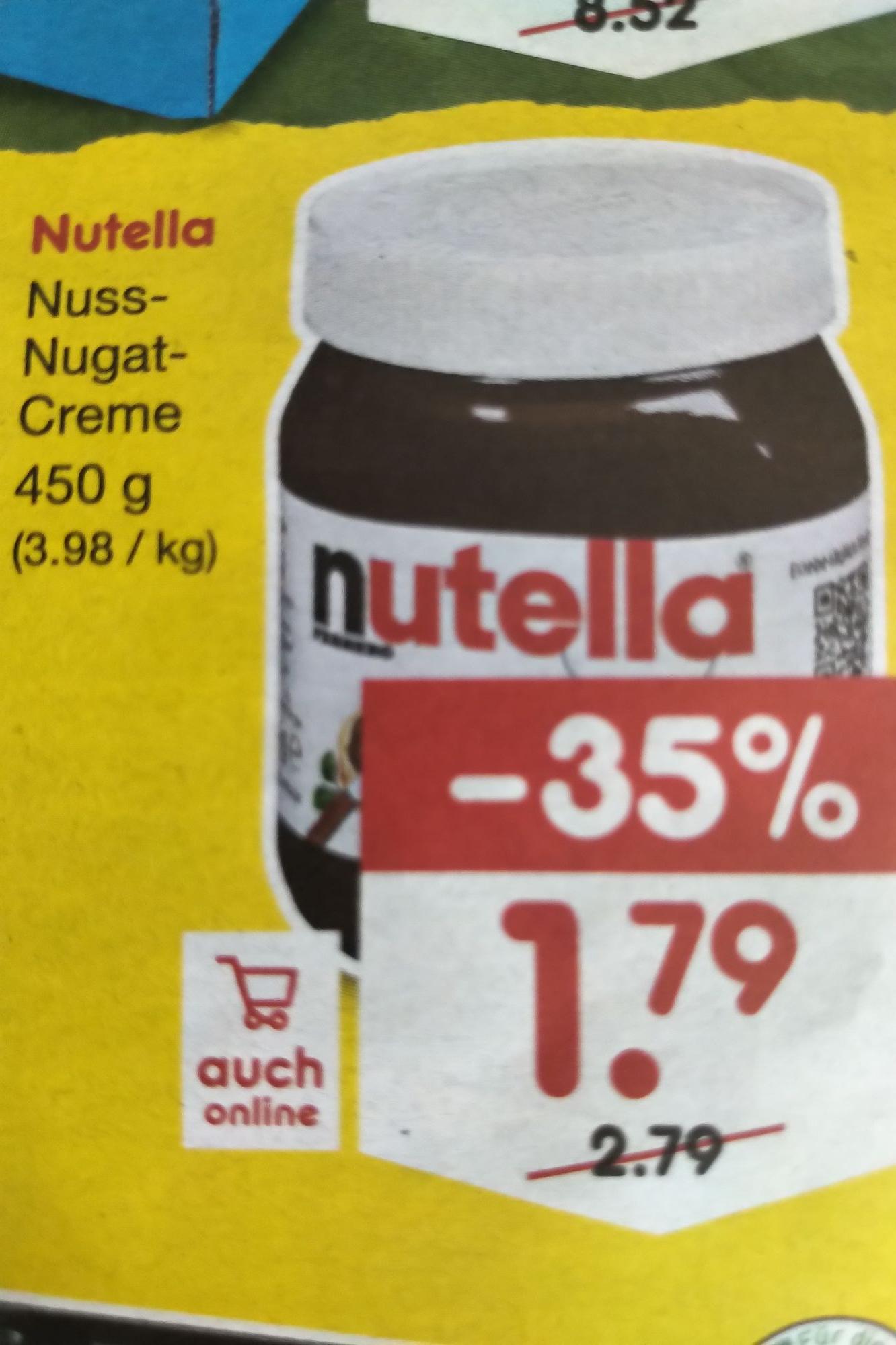 Nutella 450g bei Netto für 1,79€ (vielleicht mit 10€ DB eCoupons)