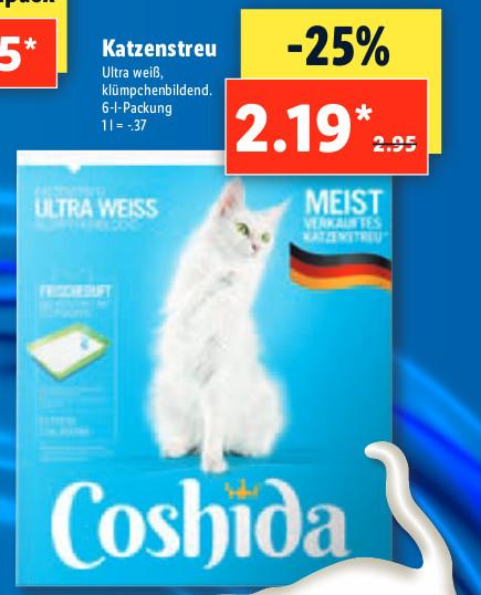 (LIDL) Coshida Katzenstreu für 2,19 € - (für Berliner: 12x Katzensteu für 21,28 € mit Lidl-Plus-5-Euro-Neukunden-GS)