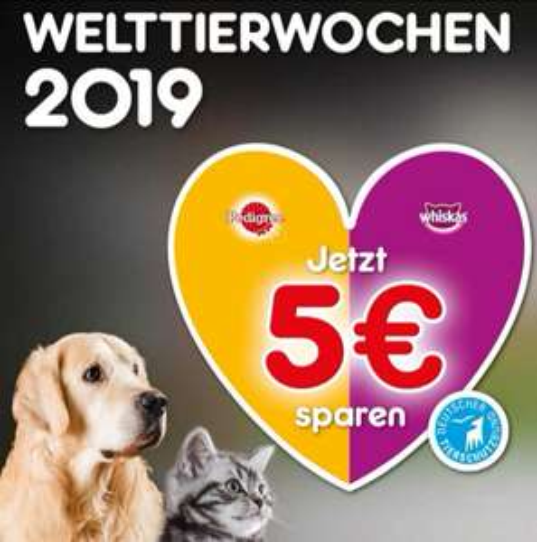 Welttierwochen 2019 ~ Whiskas und Pedigree für 15€ kaufen ~ 5€ zurückbekommen und zusätzlich bekommt der Tierschutzbund noch 5€ obendrauf.
