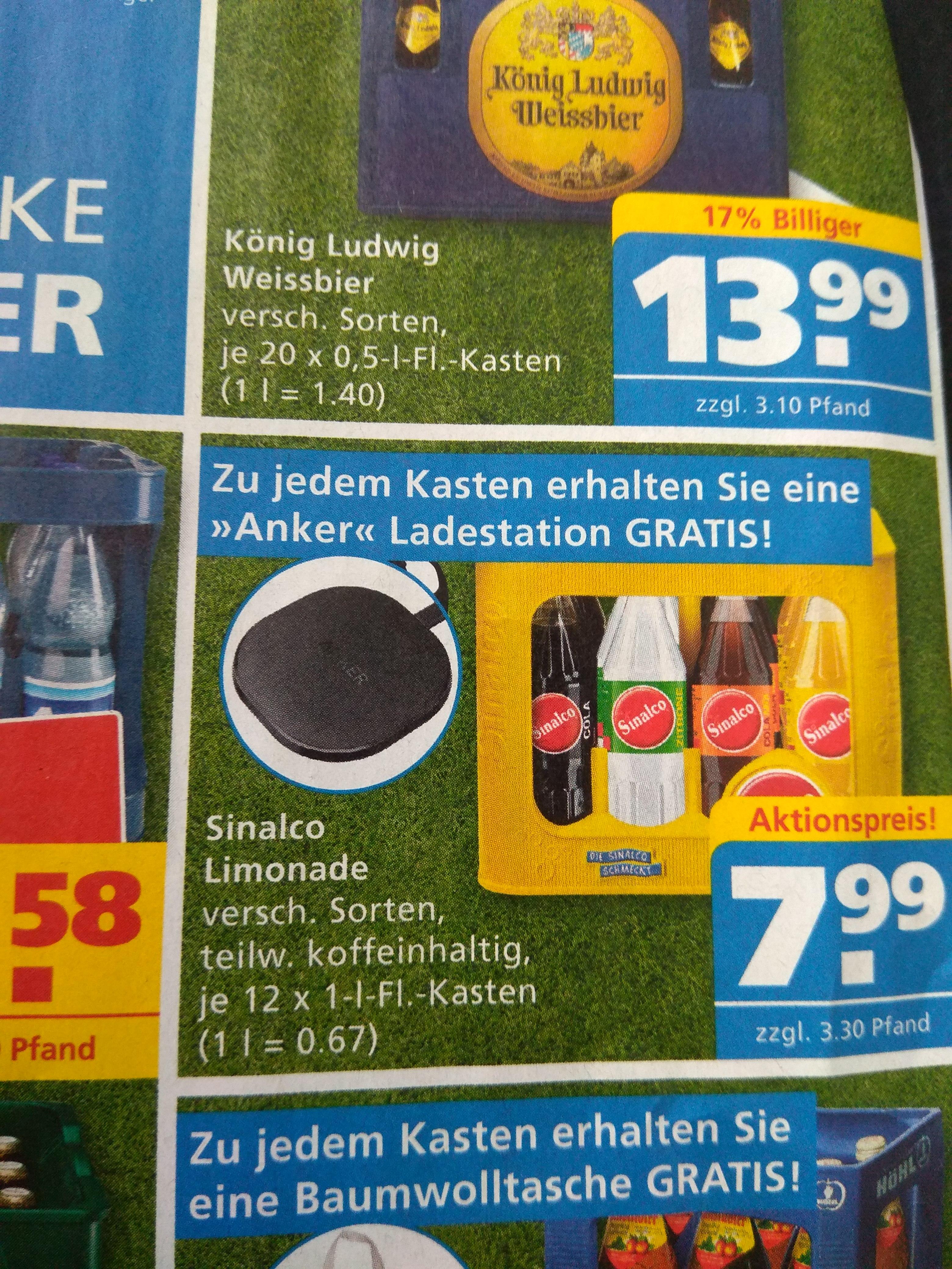 ANKER Ladestation Gratis zu Kasten Sinalco für 11,29€ inklusive Pfand@Toom Getränkemarkt