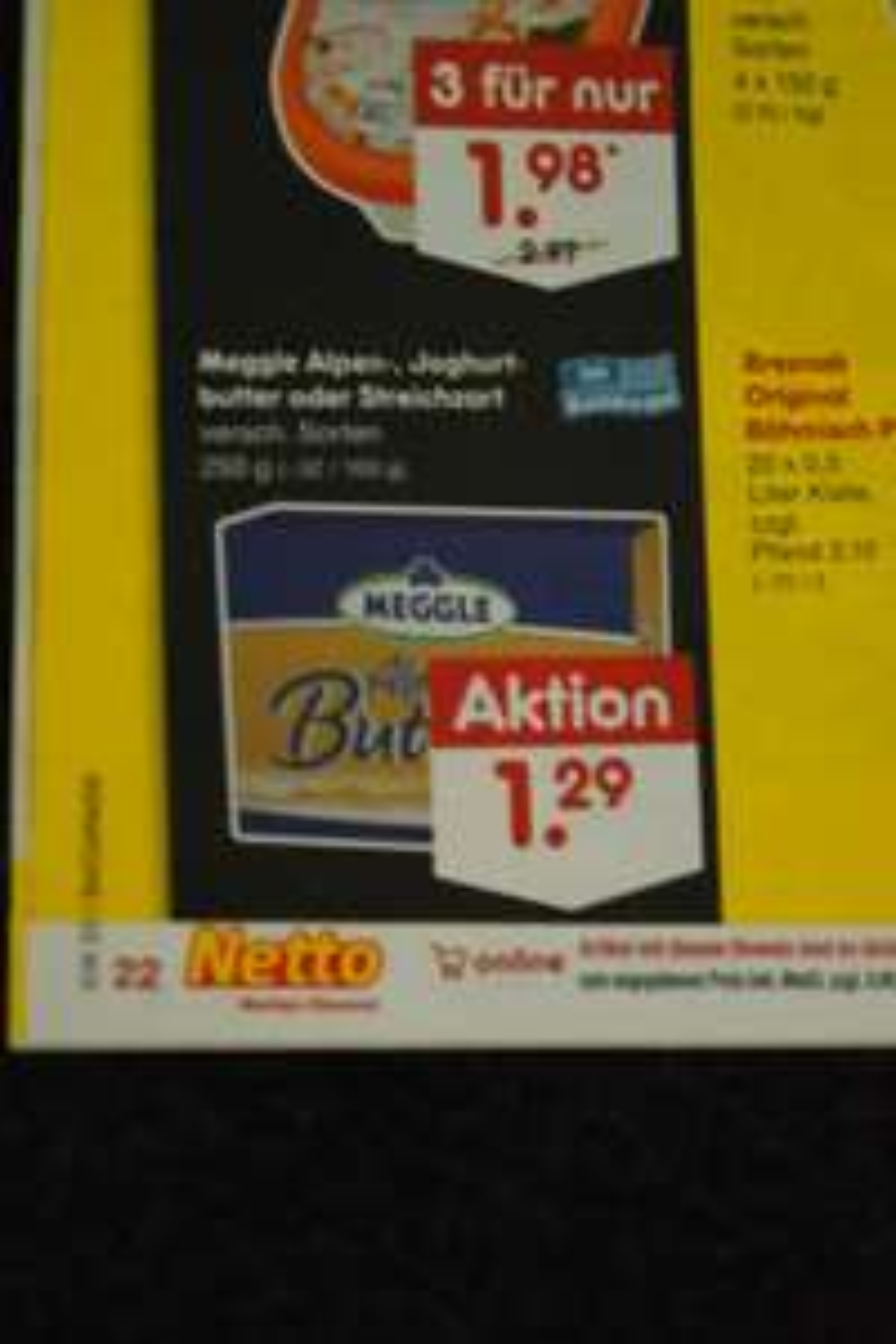 Markenbutter für 1,29 Euro ab 15.8. bei netto bundesweit