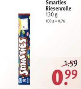Smarties Riesenrolle 130g für 0,89€ o. Rubin 4x Akku Batterien AA/AAA für je 3,59€(-10% App Coupon) [Rossmann ab 12.08.]