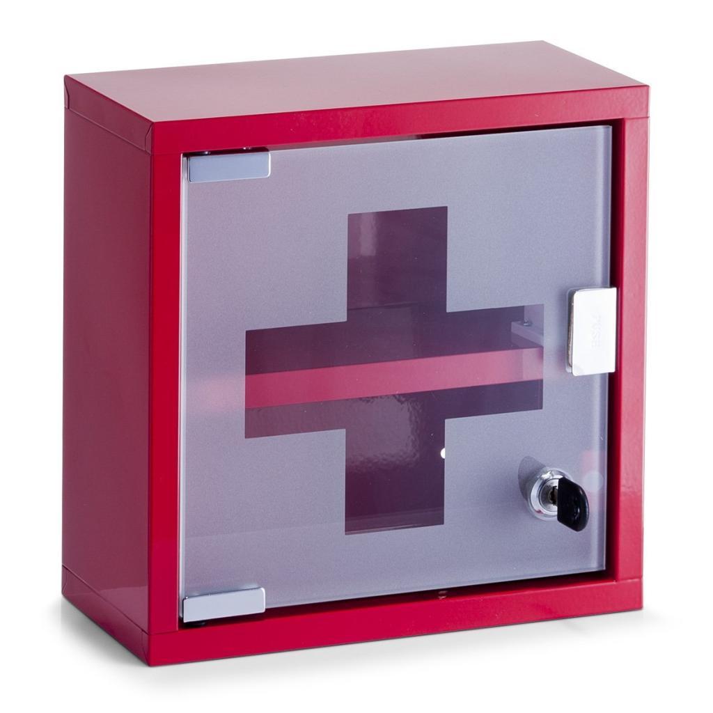Zeller Medizinschrank Metall, Glas, 25 cm Höhe (Rot & Edelstahl) für je 15€ (Müller)