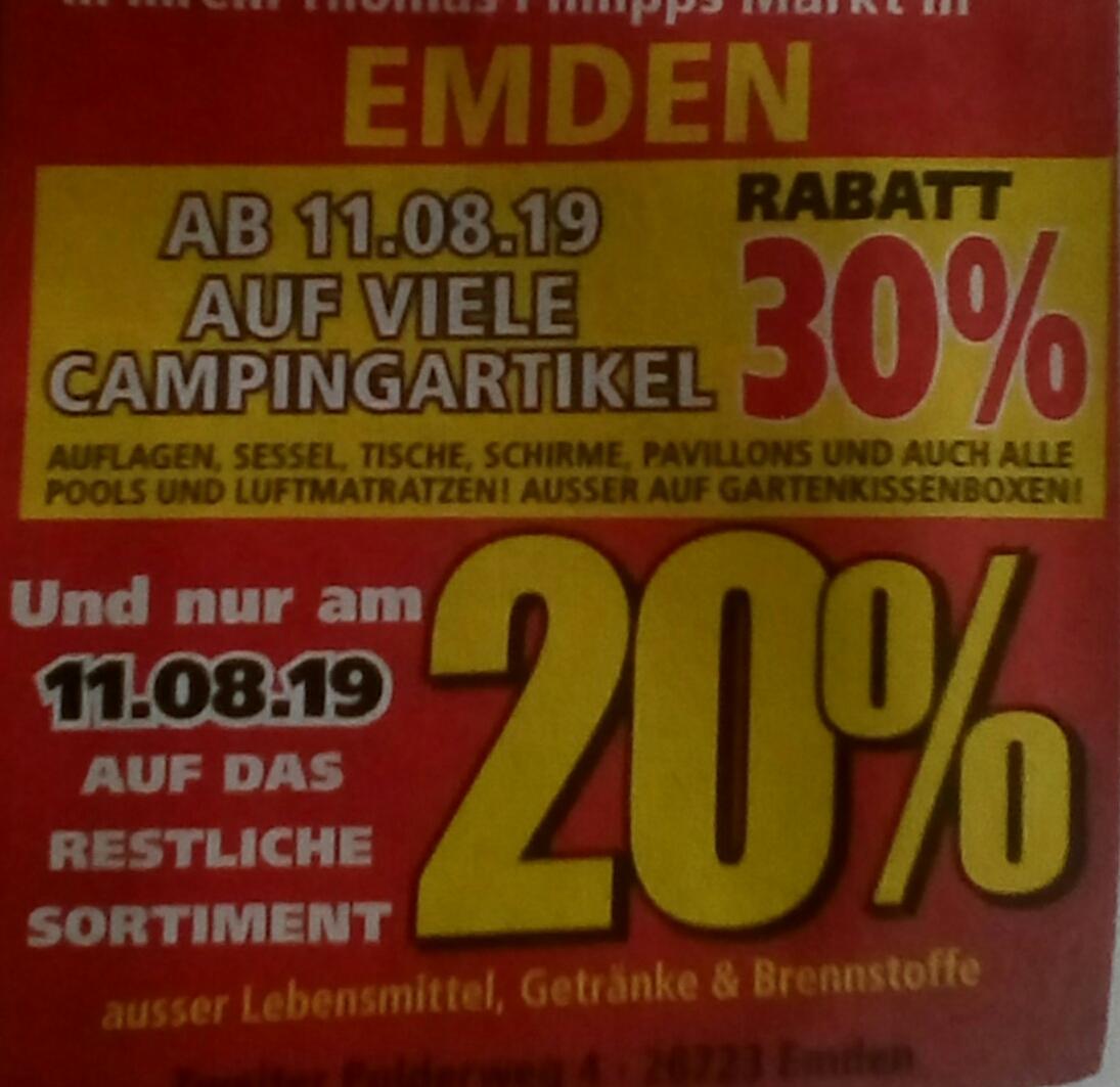 [Emden] 20% Sonntagsrabatt bei [Thomas Philipps] & 30% auf Camping …