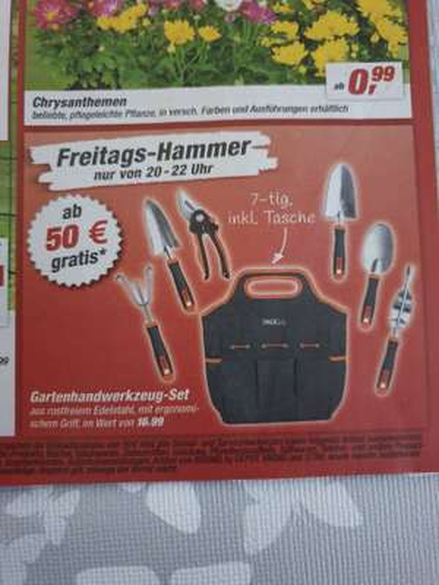 Ab 50€, Gartenhandwerkzeug-Set gratis bei toom