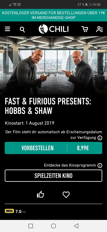 Fast&Furious Presents: Hobbs&Shaw für 4,99€ bei Chili zum Kaufen vorbestellen