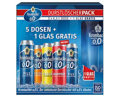 5 x 0,5l Krombacher Durstlöscher 0,0 % + Gratis Glas
