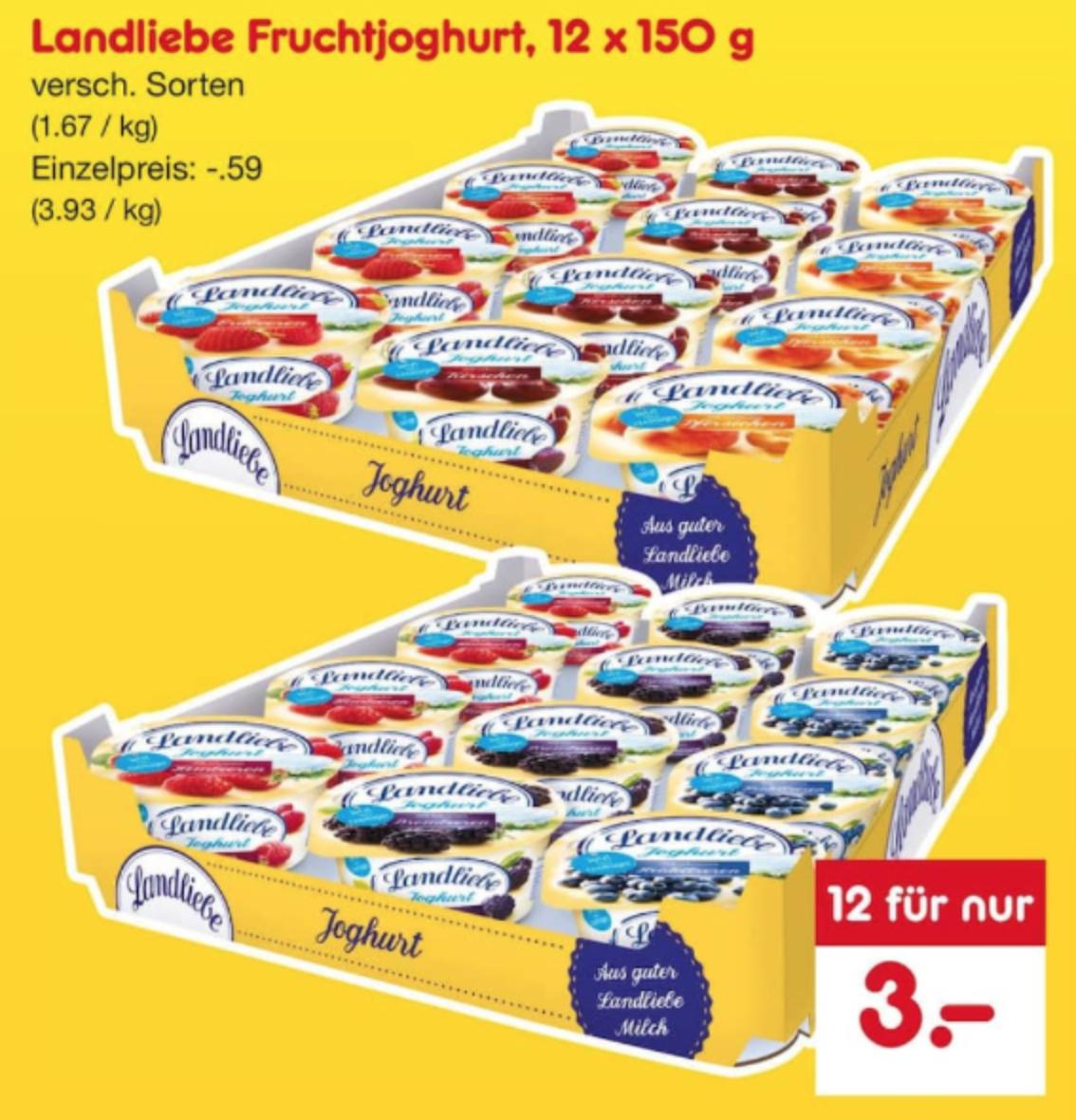 Landliebe Fruchtjoghurt, 12 x 150g [Netto]