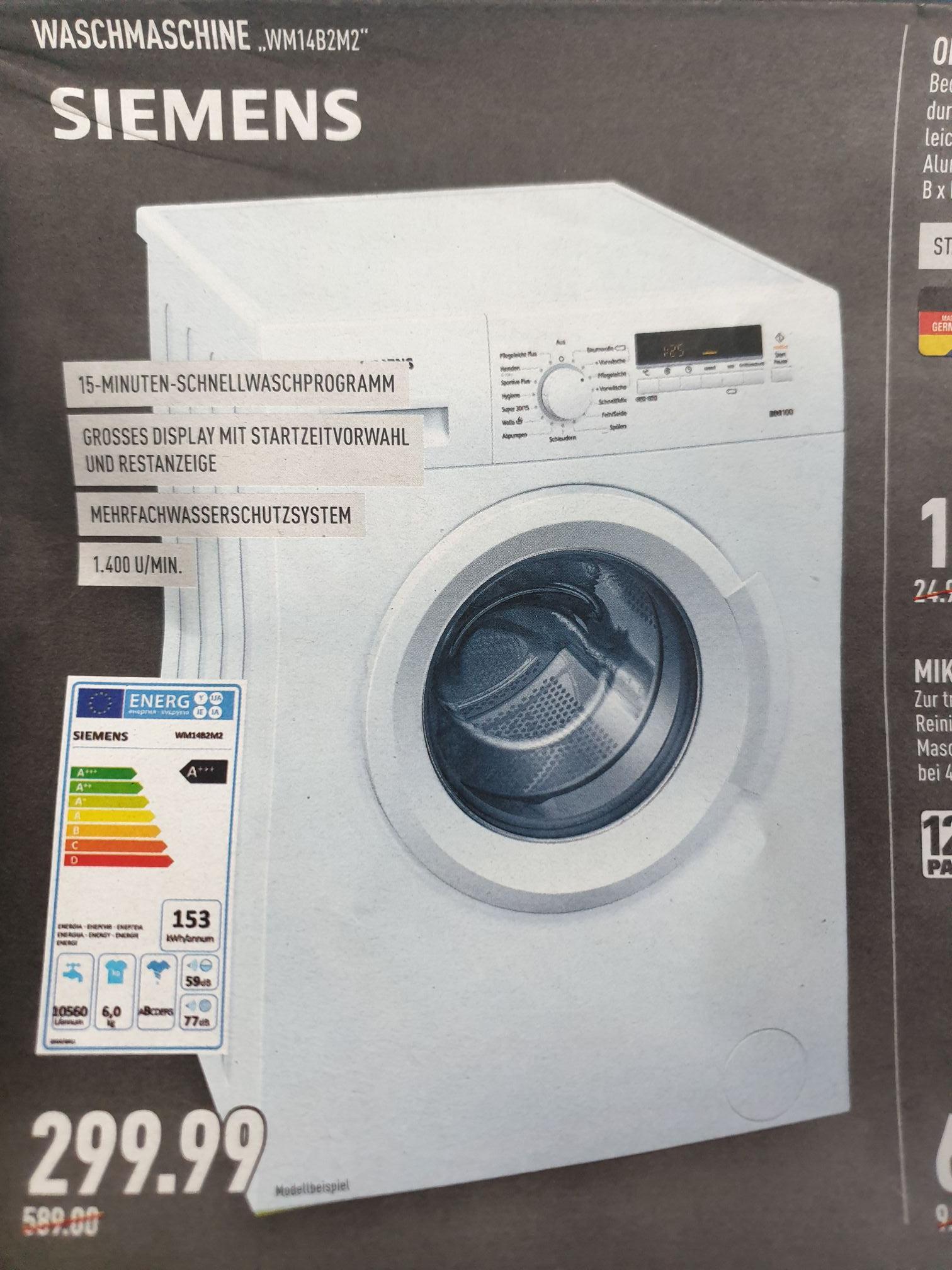 Siemens Waschmaschine WM14B2M2 mit IQdrive,6kg,A+++,1400U/min. für 299,99€ (Marktkauf Rhein-Ruhr+Hannover evtl. weitere Regionen)