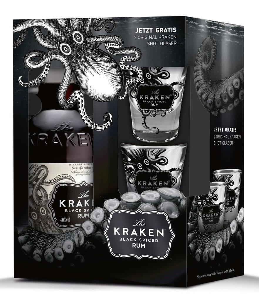 The Kraken Black Spiced Rum °0,7l 40%° + 2 Shot-Gläser bei [Real.de] mit Marktanlieferung