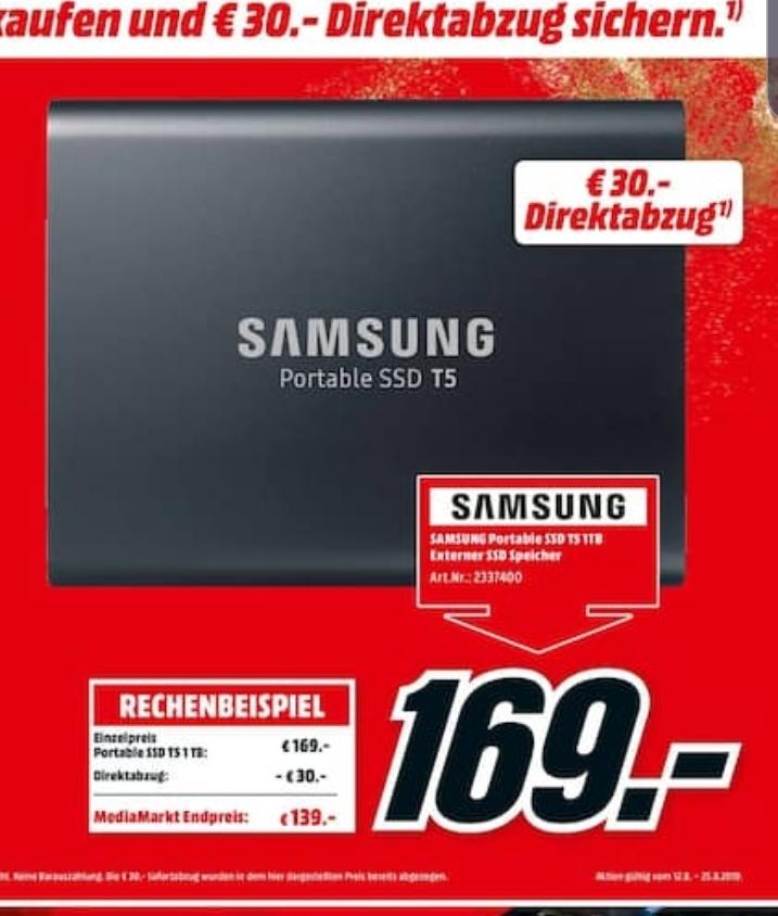 [Mediamarkt] Samsung T5 externe SSD - 1TB, USB 3.1, Typ-C für 139€ * Bei Abholung +10€ Gutschein