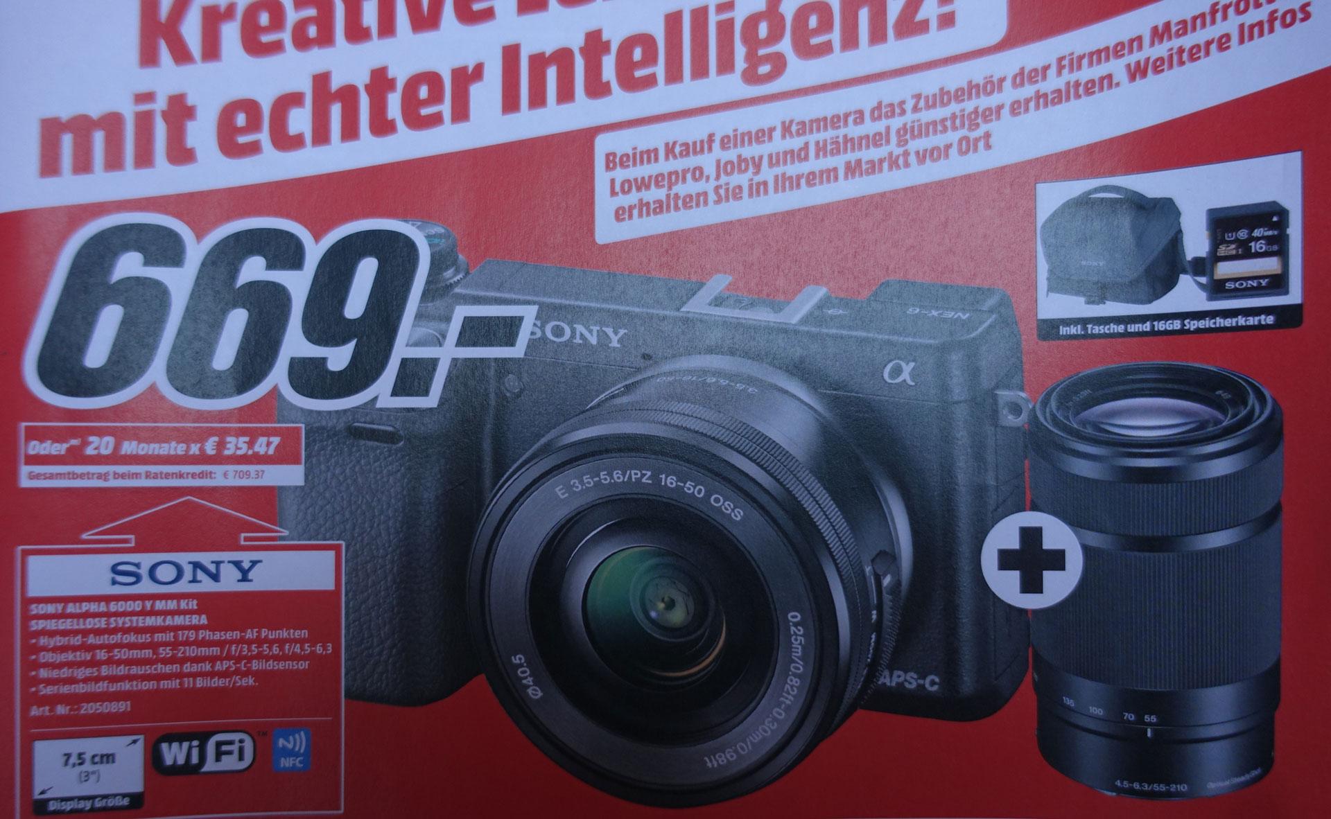 Sony Alpha 6000 Y Kit (669 - 70 Euro Direktabzug = 599,- an der Kasse)(mit 16-50mm, 55-210mm, Tasche und Speicherkarte) MM Bonn