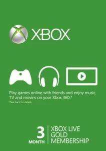 3 Monate Xbox Live Gold-Mitgliedschaft (Xbox One/Xbox 360) für 10,99€ (CDkeys)