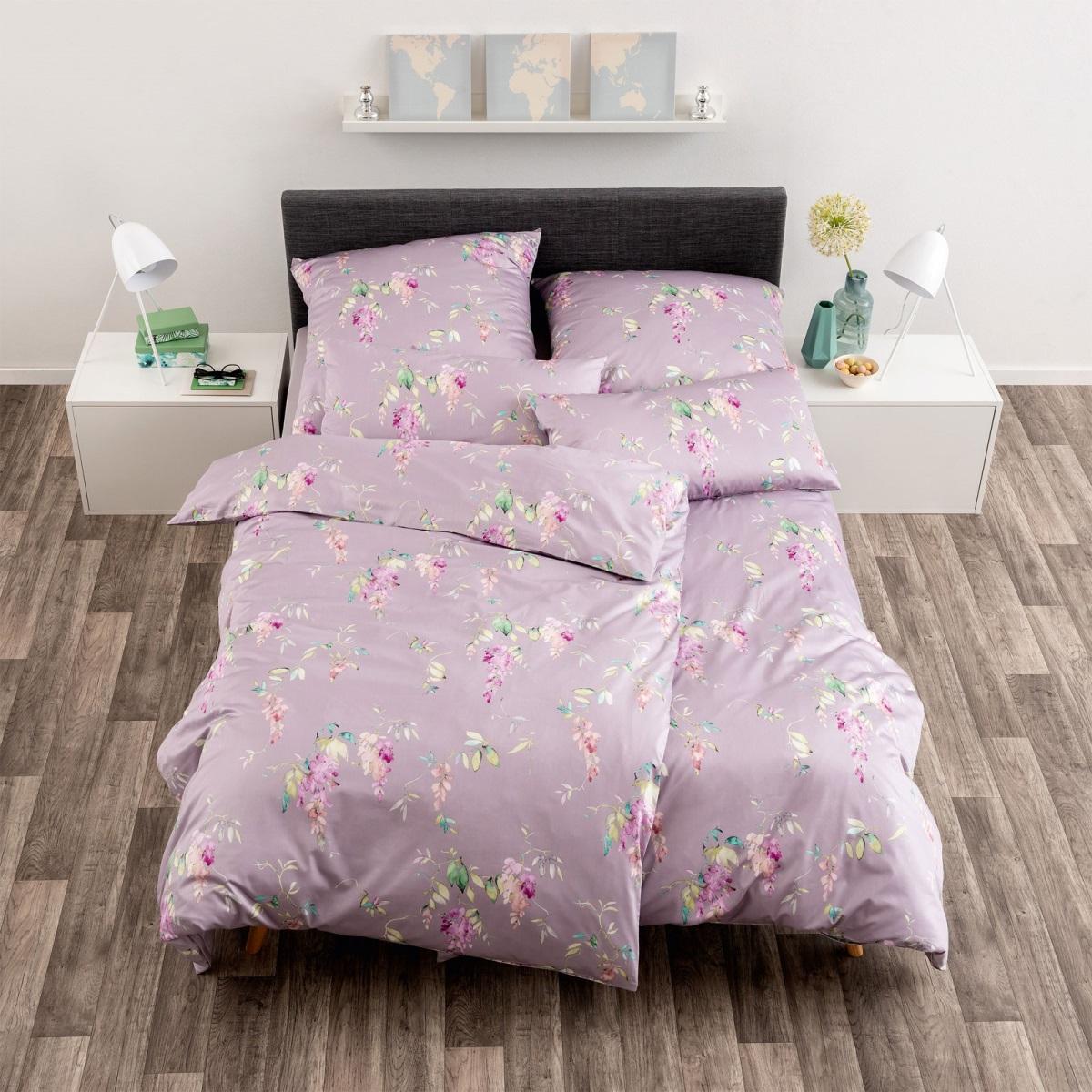 Verschiedene Bettwäsche-Sets von Estella aus Mako-Satin mit Bettdeckenbezug (135x200cm) und 2 Kissenbezügen (40x80cm + 80x80cm)
