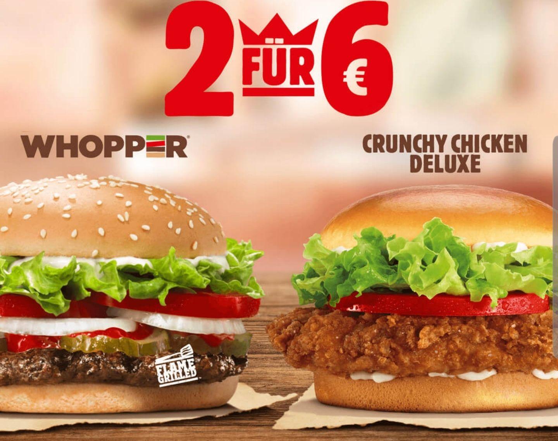 2x Whopper oder 2x Crunchy Chicken für 6€ [Burger King]