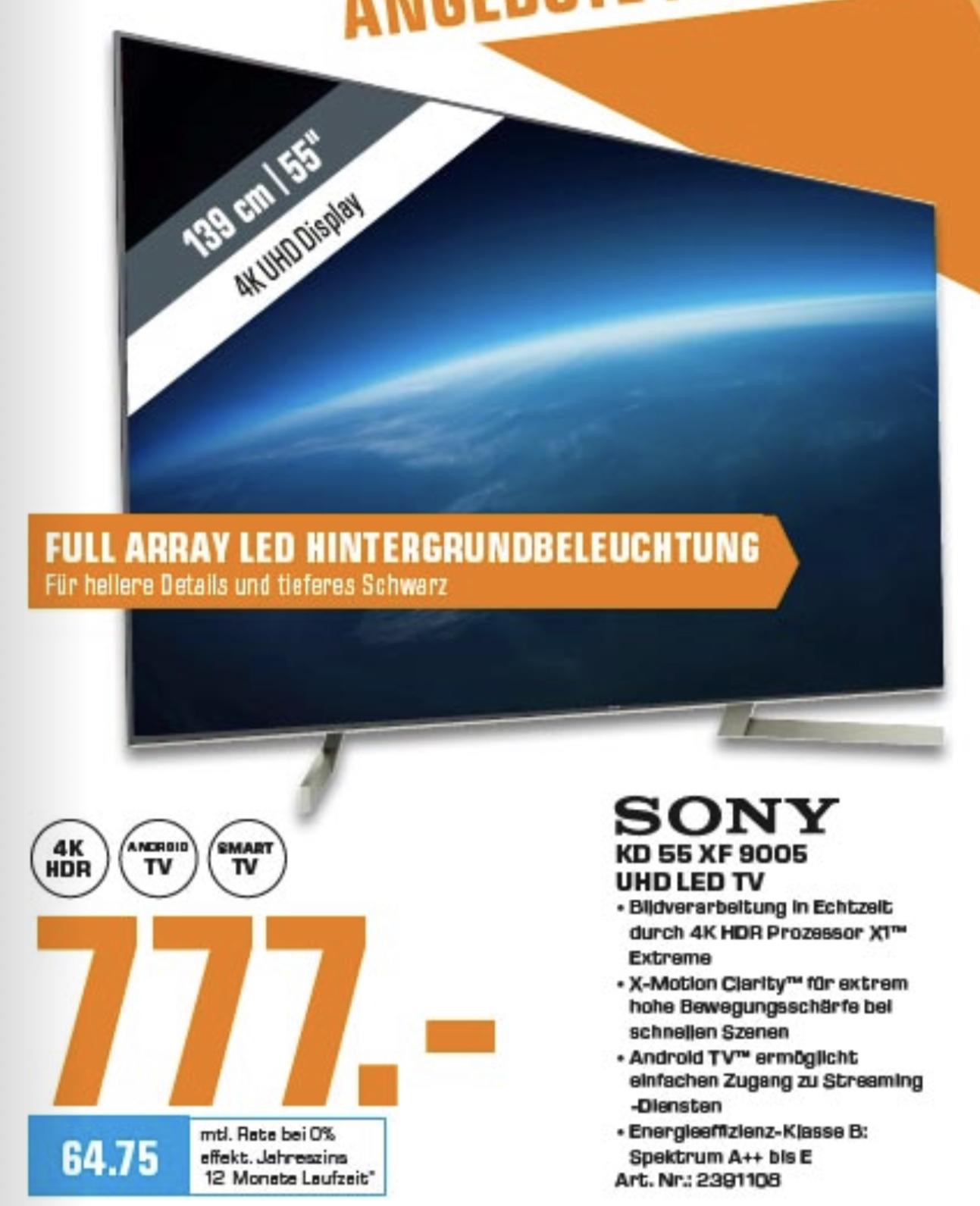 Lokal Saturn Berlin: Sony KD-55XF9005 139cm 4K UHD TV für 777€ usw.