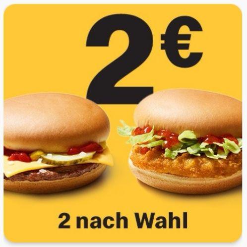 [McDonalds] 2 Basic-Burger nach Wahl für 2€ (App)