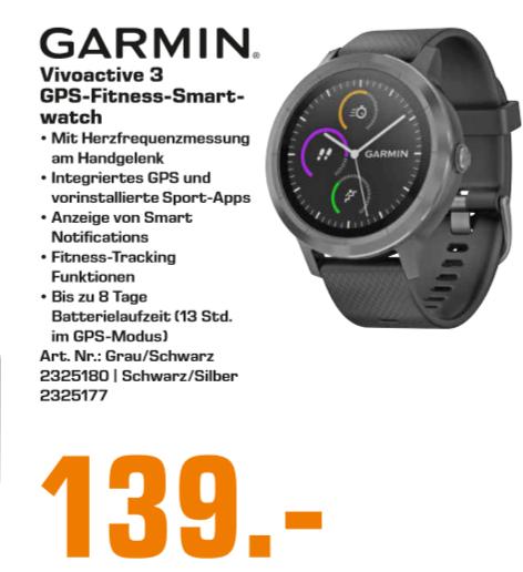 [Lokal: Saturn Halle / Saale] GARMIN vívoactive 3, Smartwatch, Silikon, 127-204 mm in Grau/Schwarz o. silber-schwarz