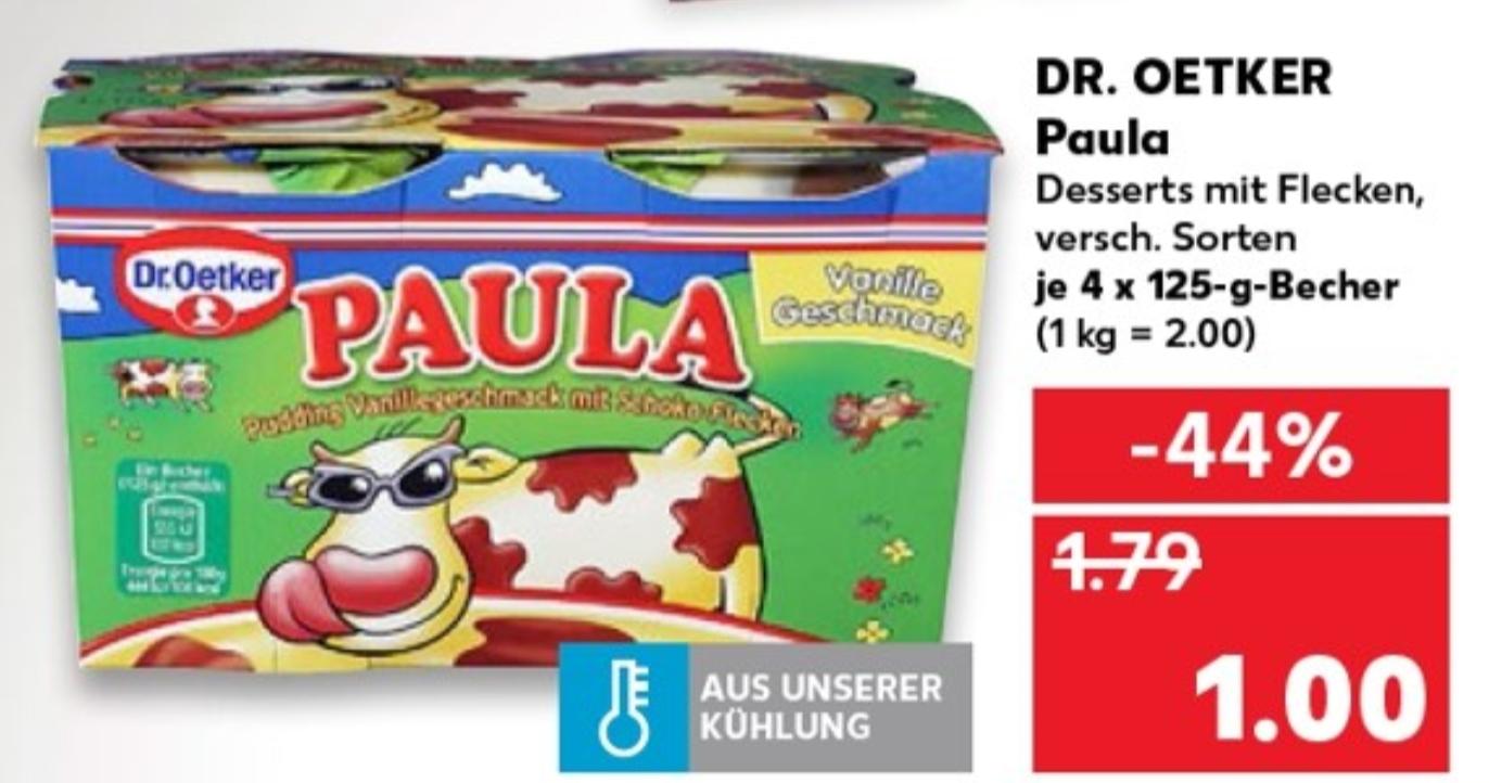 """""""ALLES FÜR EINEN"""" bei Kaufland. Z.B. Dr. Oetker - Paula 4x125g Becher für 1€"""