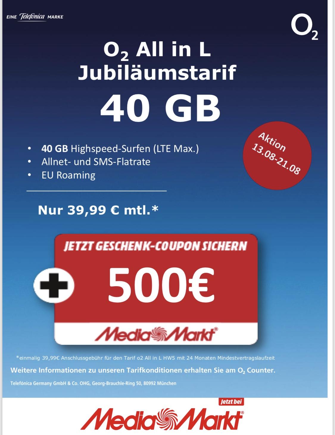 40 JAHRE MEDIAMARKT 40GB O2 + 500€ Media Markt Coupon