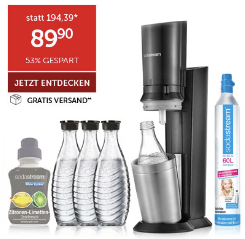 Sodastream  Crystal 2.0 Promopack titan mit 3 Glaskaraffen u. Sirup für 89,90€ inkl. Versandkosten