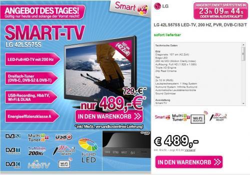 [T-Online] LG 42LS575S LED TV für 489€ (Idealo 550€) + Qipu