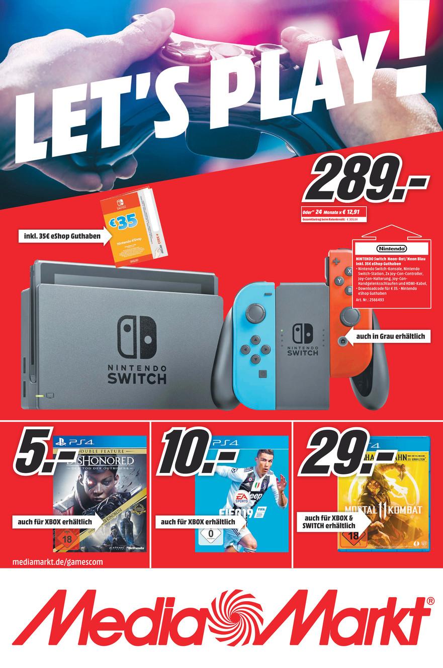 [LOKAL] Media Markt Köln/Bonn/Bornheim: Gamescom Angebote mit Games, Konsolen (Zubehör) PS4 / X Box One / Nintendo Switch / PC (Zubehör)