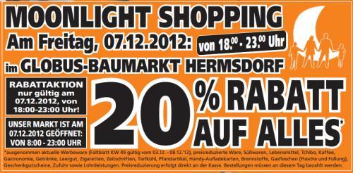[Offline][Lokal] Moonlight Shopping - 20% Rabatt auf Alles - Globus Baumarkt Hermsdorf