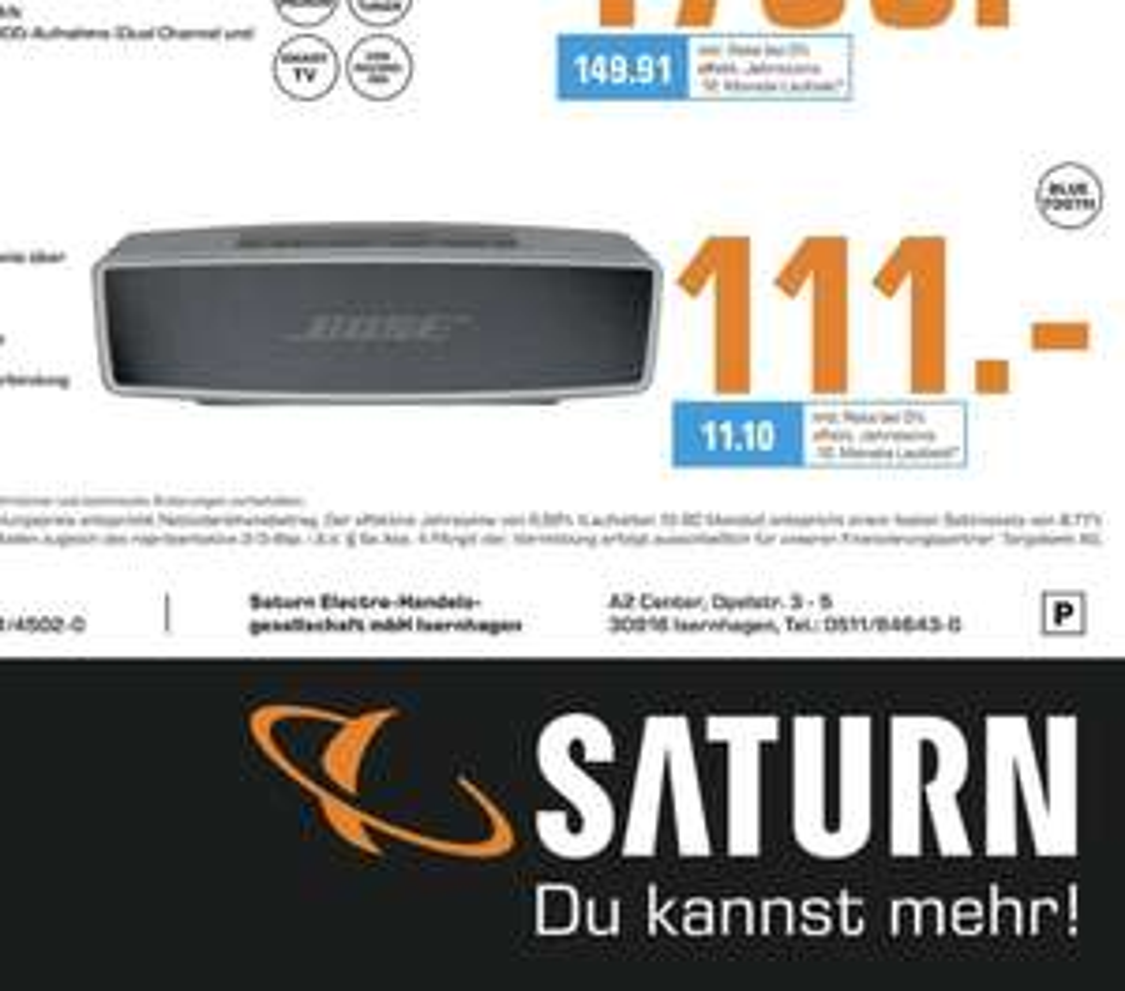 [Lokal: Saturn Hannover & Isernhagen] Bose Soundlink Mini II - Bluetooth Lautsprecher in carbon