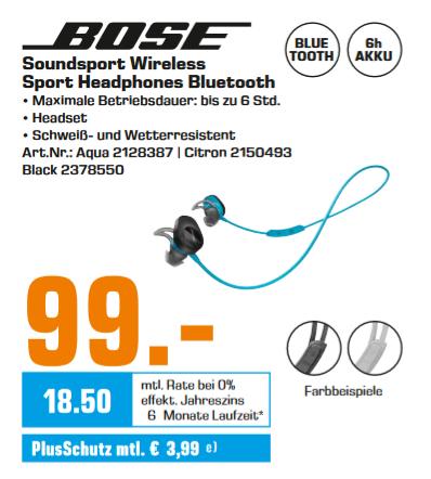 [Lokal: Saturn Kiel] BOSE SoundSport® wireless, In-ear Kopfhörer, Near Field Communication, Bluetooth, spritzwassergeschützt in 3 Farben