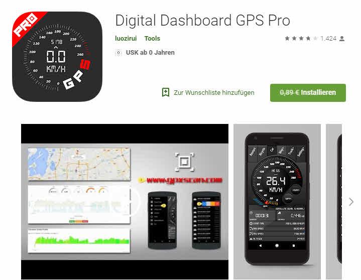 ( Google Playstore ) Digital Dashboard GPS Pro