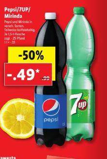 (LiDL ab 19.08.) Pepsi / 7UP / Mirinda 1,5 Liter verschiedene Sorten