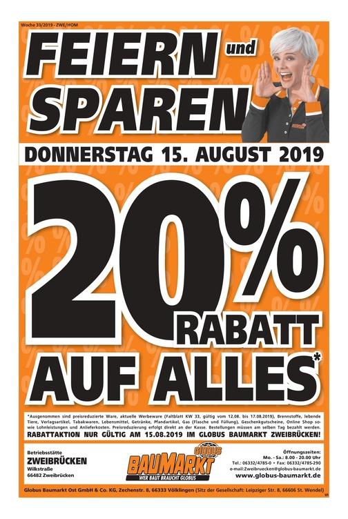 [Lokal Zweibrücken] 20% auf alles bei Globus Baumarkt am 15.08.2019
