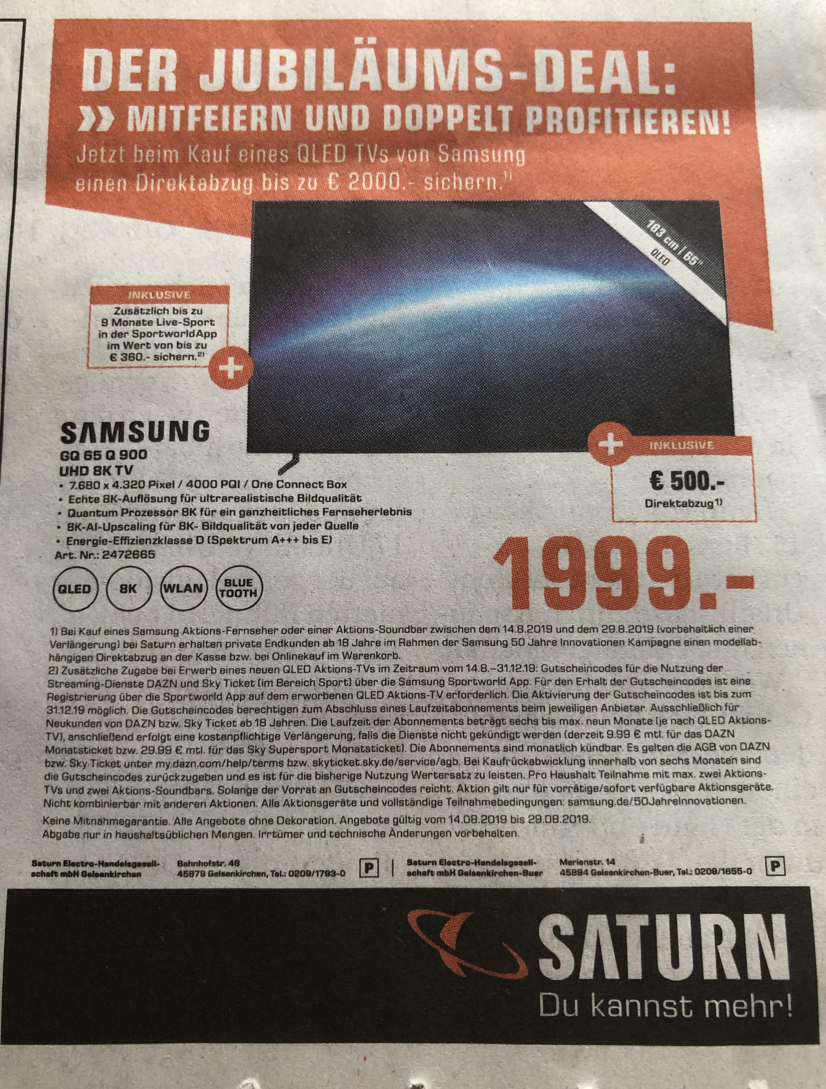 Samsung GQ65 Q900 R UHD 8k TV im Jubiläums Deal (LOKAL SATURN GELSENKIRCHEN)