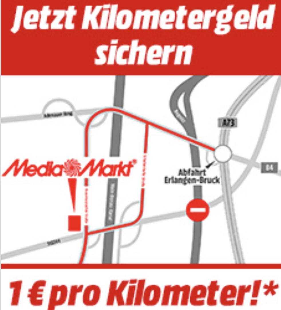Lokal MediaMarkt Erlangen: 1€ Rabatt pro Kilometer Anfahrtsweg (max. 50€) - ab 300€ Einkaufswert