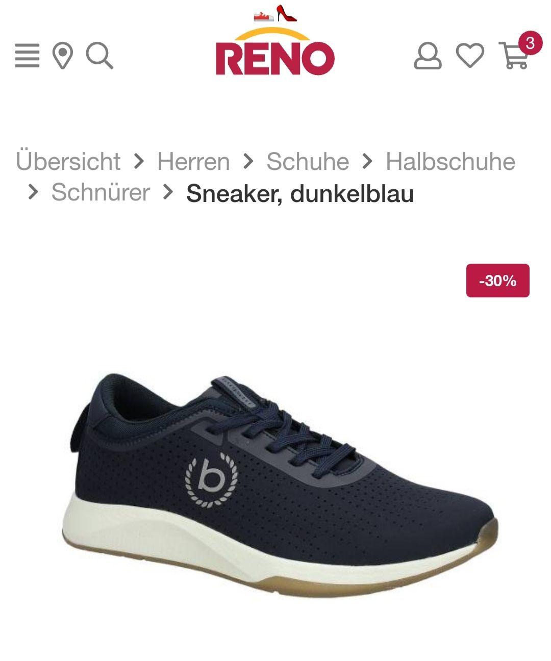 Reno 30% Rabatt Im Sale ab 3 Paar, bei 2 Paar 20% zb. *3x* Bugatti Schuhe für 85,04 inkl. Versandkosten
