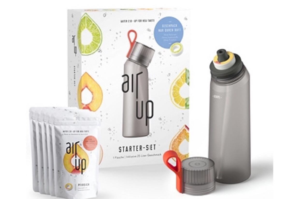 AIR UP Starter-Set 650ml Trinkflasche mit 5 Duftpods für 25l