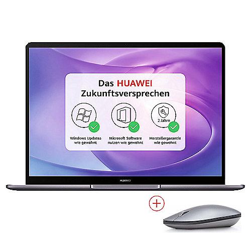 """Huawei Matebook 13 - 13"""" 2K IPS Notebook (i5-8265U, 8GB RAM, 256GB SSD, USB-C, 41,8Wh, 1.28kg, Win10, Tastaturbel.) grau inkl. BT-Maus"""