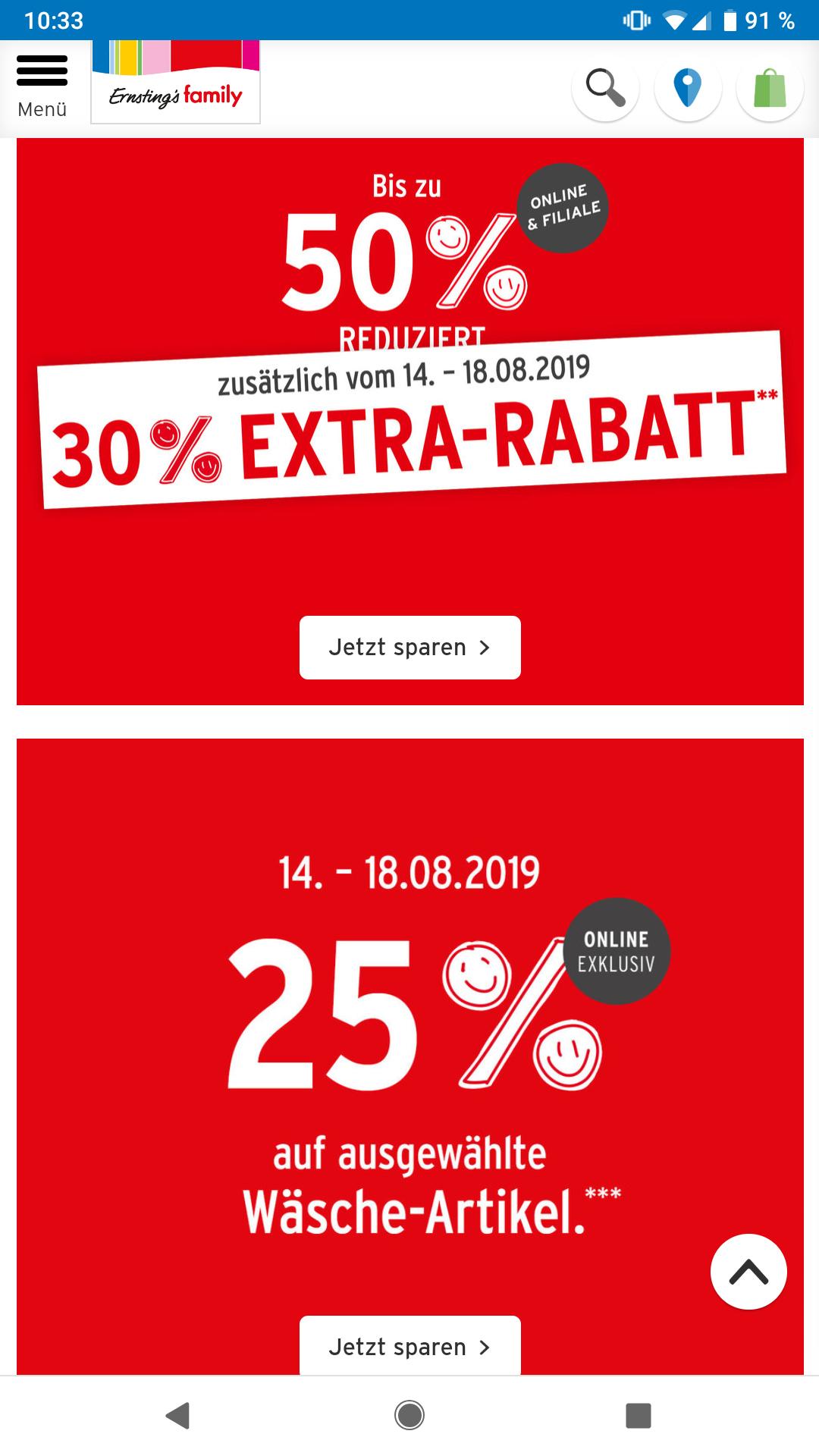 Ernstings family 30% extra Rabatt auf alles im Sale und 25% auf ausgewählte Wäsche-Artikel