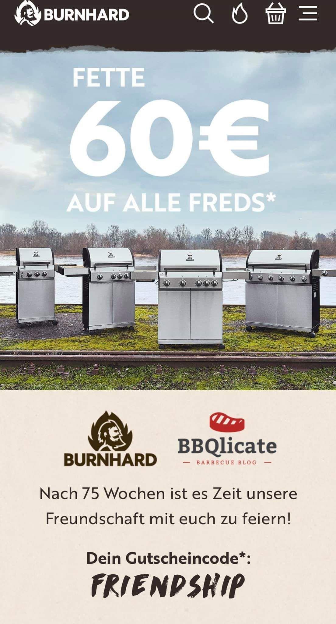60€ Rabatt auf alle Burnhard Fred Grills