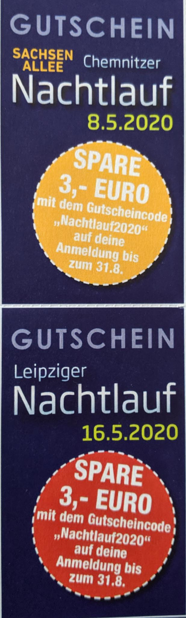 Nachtlauf Leipzig / Chemnitz 2020 - spare 3 € auf die Anmeldung bis 31.08.2019