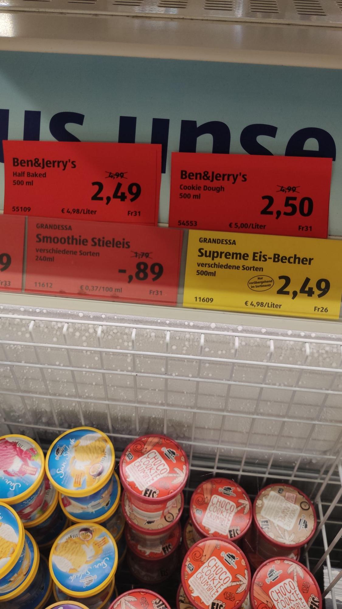 Ben & Jerry's 500ml Eis bei Aldi Süd (LOKAL Duisburg - Obermarxloh) (zusätzlich 2,00€ Cashback möglich)