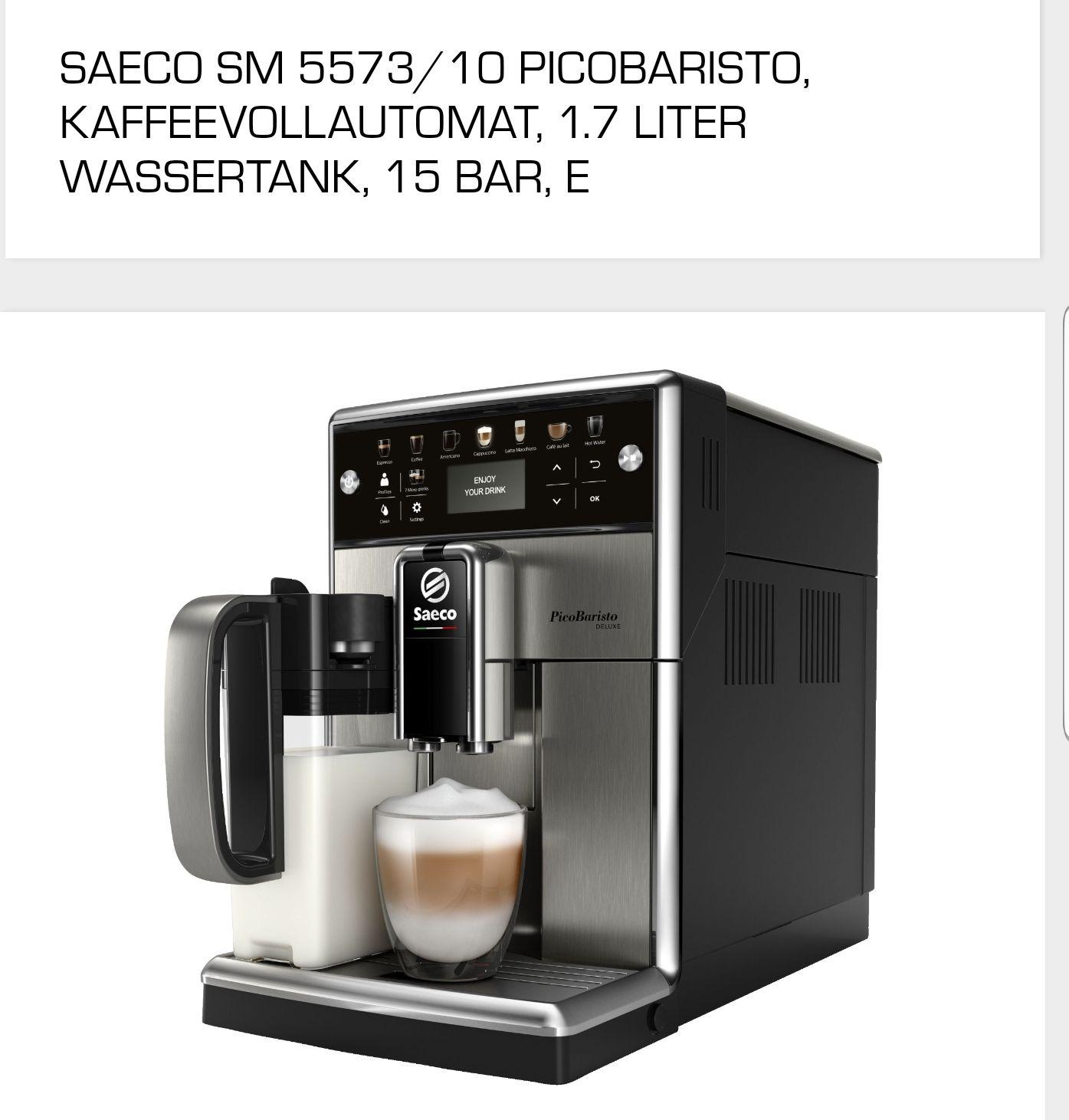 (Mediamarkt). SAECO SM 5573/10 PicoBaristo Deluxe  Kaffeevollautomat Edelstahl/Schwarz