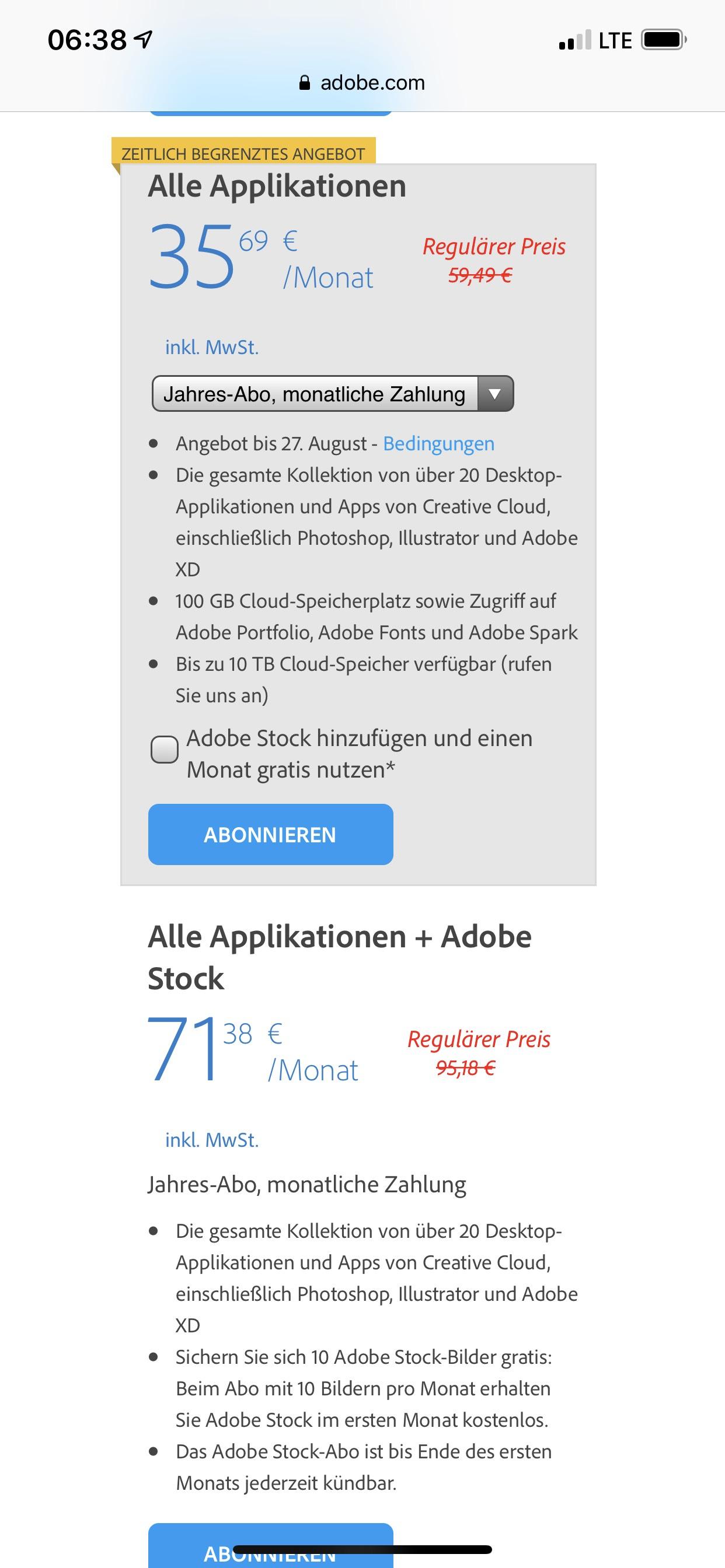 Adobe Creative Cloud Einzelanwender Jahresabo günstiger