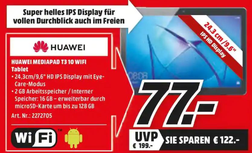 [Lokal: Media Märkte Magdeburg] Huawei MediaPad T3 10 WiFi 16GB Tablet