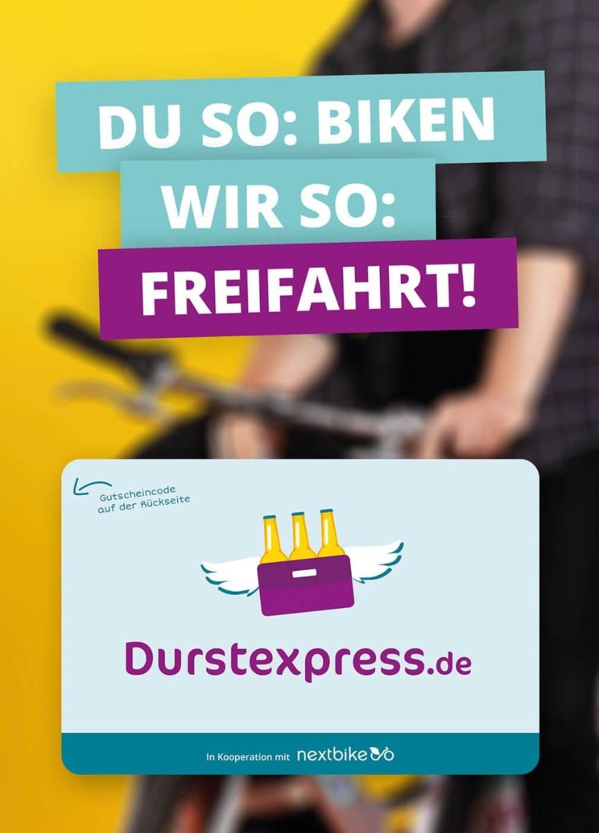[Lokal Leipzig Hannover] nextbike FREIFAHRT für alle DURSTEXPRESS Kunden (3 x 30 Freiminuten)