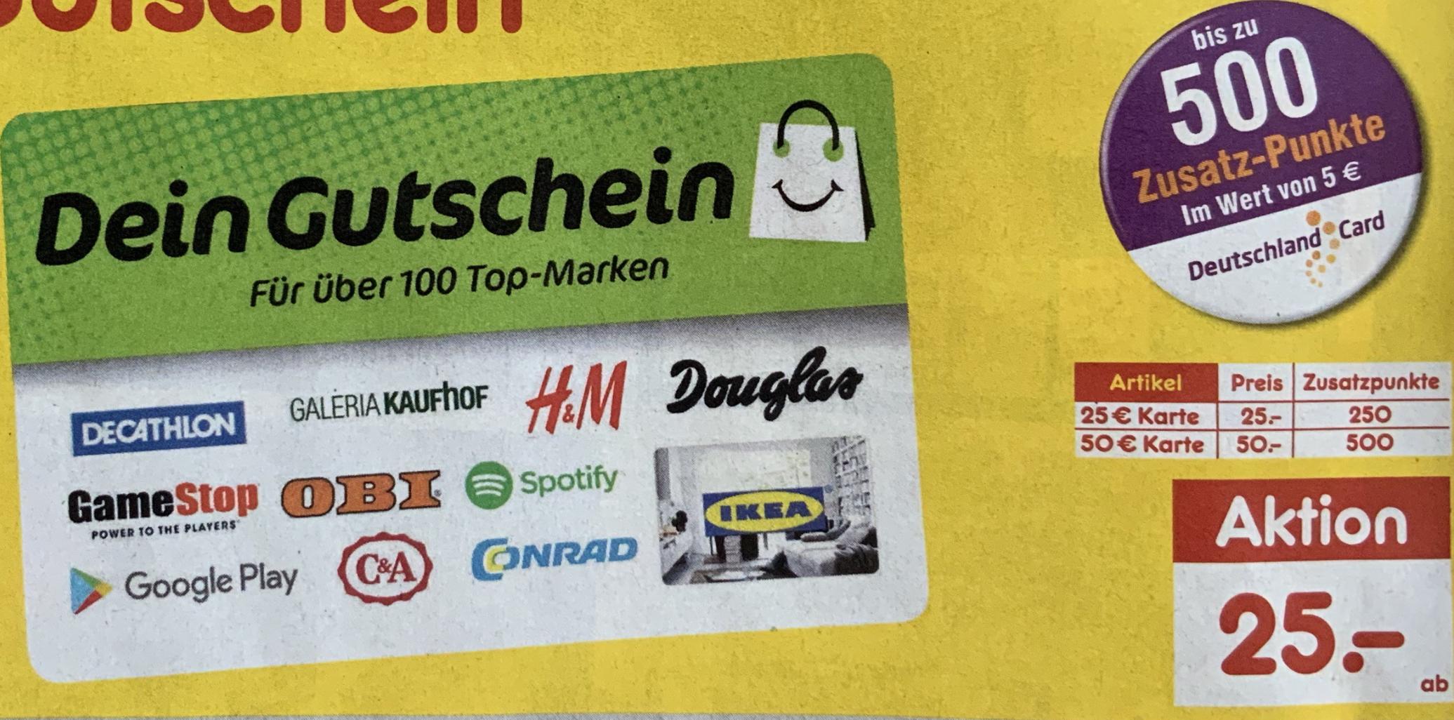 Netto MD: DeinGutschein 500 bzw. 250 DeutschlandCard Punkte auf die 50€ bzw. 25€ Karte - entspricht 10% Cashback