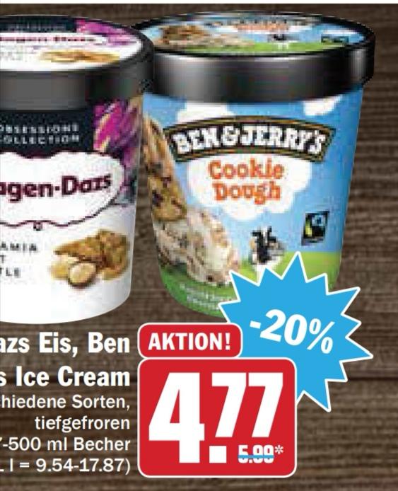 [Hit bundesweit ab 19.08.] Ben & Jerry's Eis für effektiv 2,77€ (Angebot & Marktguru Cashback)