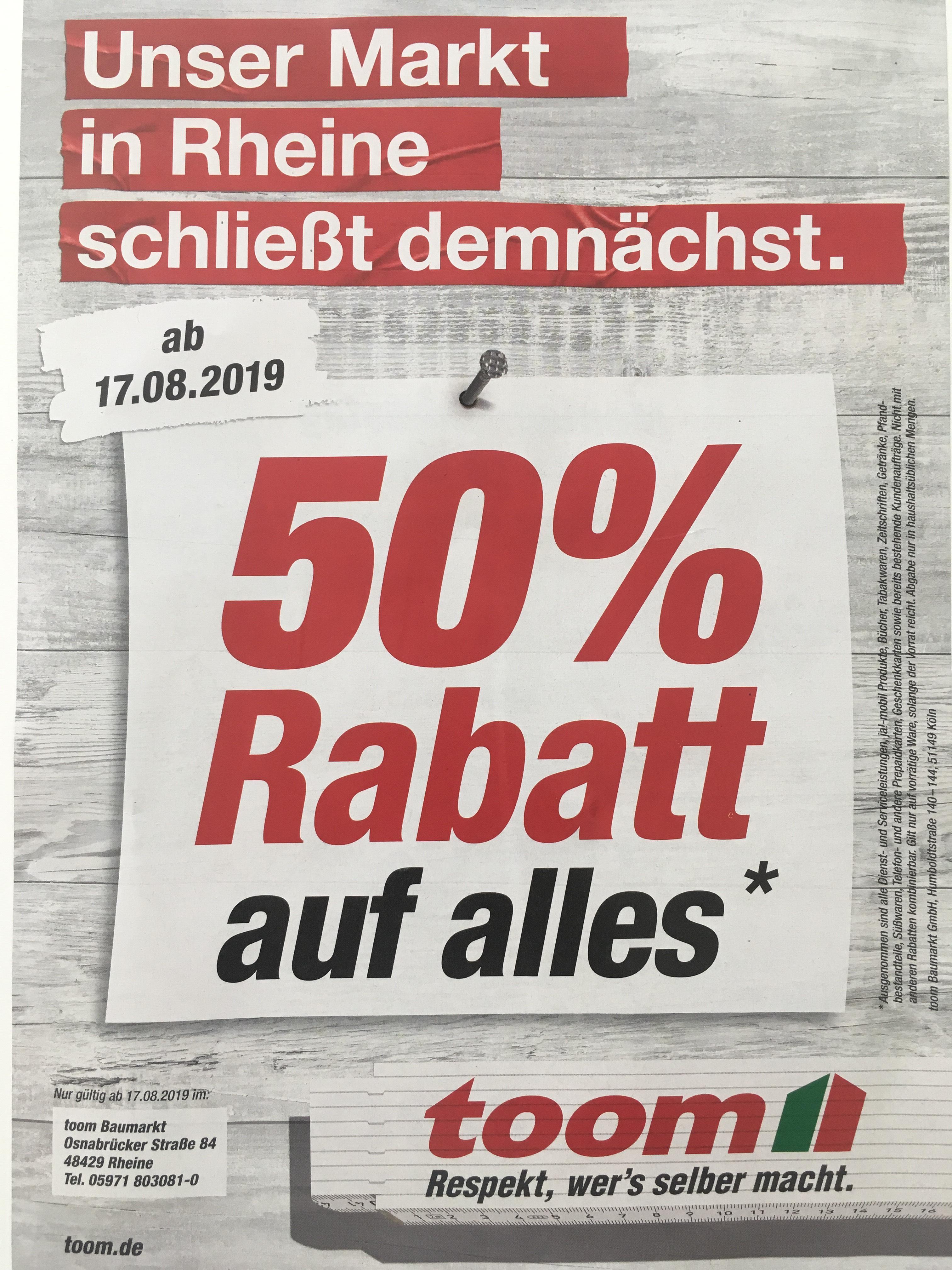 Lokal - Rheine - 50% auf alles bei Toom