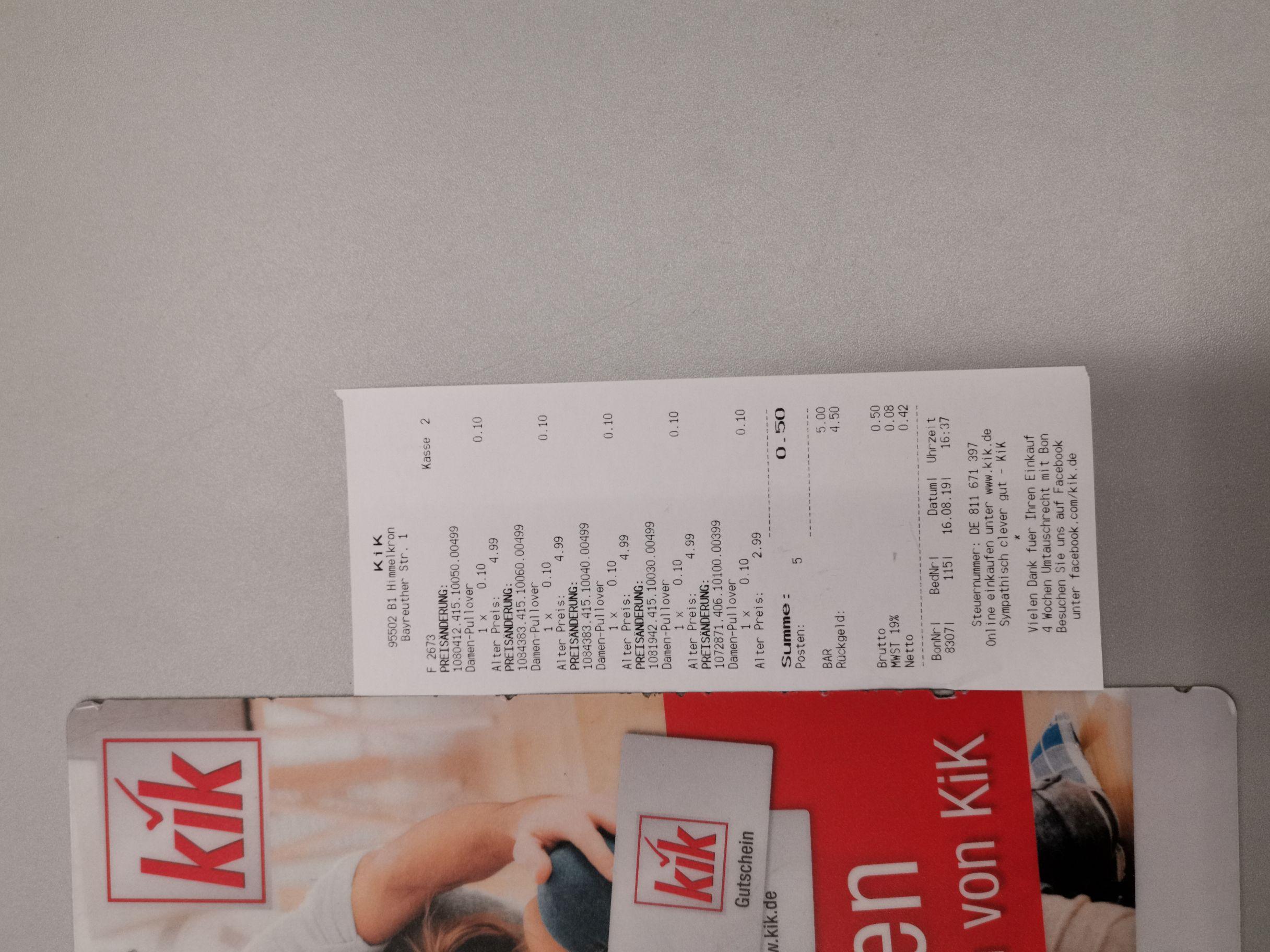 KIK. Bundesweit einzelne Läden. Lagerräumung. T-shirts 0,10 EUR.